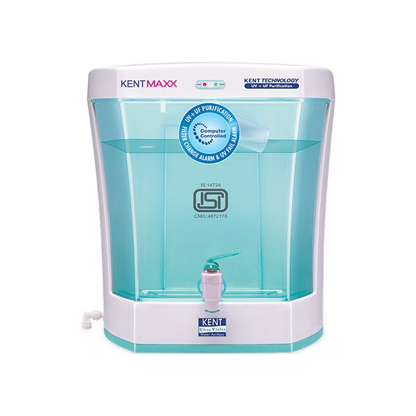 Non-breakable food-grade plastic has been used to manufacture the Maxx Water Purifier. The Kent - 7 litres UV+UF Maxx Water Purifier reminds the customer to change the filter cartridges through an alarm fixed in it. The purifier removes virus, bacteria, cysts, harmful molecules such as sodium chloride, zinc etc. Also, the Maxx Water Purifier removes bad odour and provide odourless pure water. Seven litres UV+UF Maxx Water Purifier can store 7 litres of water without filling it every time it is automatic fills-up technology. Product Specification- Brand- Kent Metal- Food-grade Plastic Capacity- 60 litres per hour Certified- TDS Weight- 6.1 kgs Filter cartridges- Activated carbon and Sediment Per day capacity- 120 litres