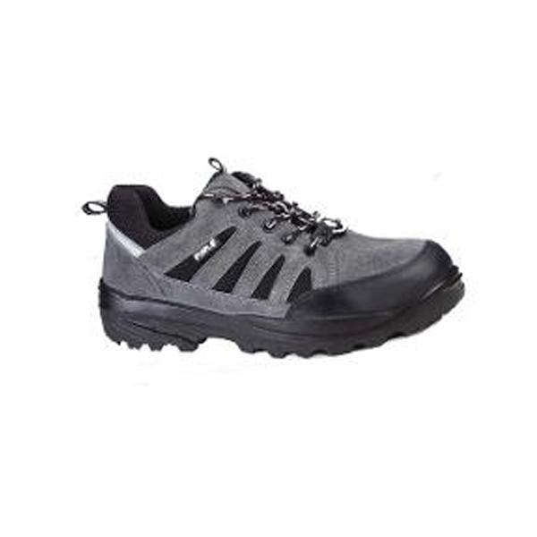 Grey Leather Steel Toe Safety Shoes