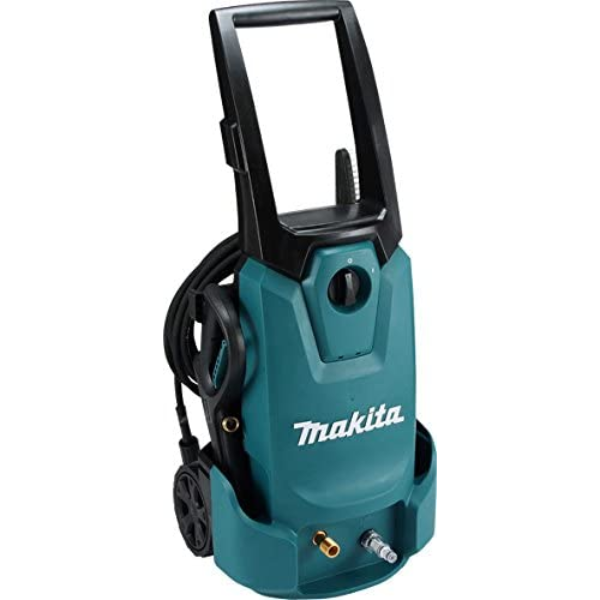Pressure adjustable function for easy and quick control by turning the handle. Makita built Powerful 1,800 W series motor provides up to 12 MPa (120 bar) for maximum cleaning Power. 420 L/hr max flow rate. Powerful washing 10 MPa (100 bar) of working Pressure (up to 50X as tap water). Lightweight and compact, middle class Power washer for home and professional use. Low noise Level thanks to anti-vibration structure for operator comfort. Eco-friendly for reduced water. Uses up to 80% less water than a garden hose while delivering up to 50X the Pressure. Long, superflex, scratch-proof, anti-kink 10 m high Pressure hose for various applications. Self-priming function supplies water from a tank or reservoir instead of a faucet. Ideal for cleaning of motorcycles, garden furniture and balconies. IPX5 rated for weather and water resistance. Handle and rear wheels for easy mobility. On-board storage for straightforward setup and accessory storage. Cyclone Guard for preventing from water splash. Foam Nozzle for foaming the detergent and splashing the bubble. Under Body Spray Lance for washing the bottom of cars / tractors / cultivators, etc. Accessory Joint for using the accessories of HW112 / HW121. Double insulated.