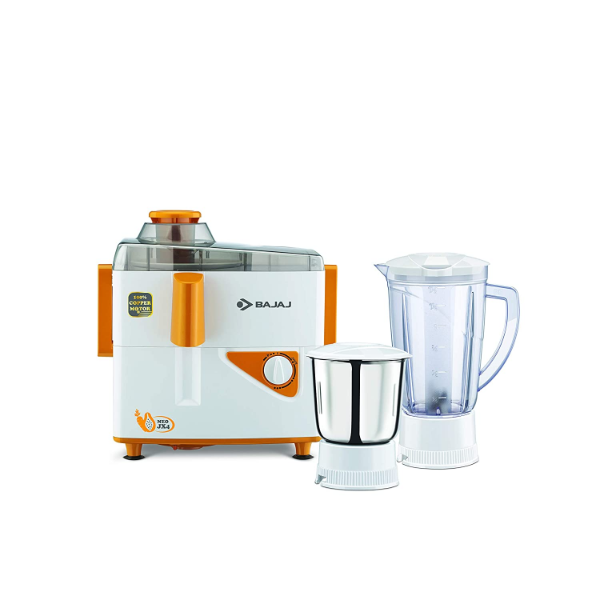 Bajaj MAJESTY JX4 NEO JMG - 450 W, 2 Jars Juicer Mixer Grinder – It is equipped with 450 W motor and stainless steel grinding jar. There is a food pusher for efficient juicing purpose. The spatula is for easy removal of mix. Bajaj Majesty Juicer is known as super-efficient centrifugal juicer. It comes with 3 speed setting system. This mixer grinder comes with a top-quality blades for smooth operation. The auto shut off system is embedded for motor safety purpose. The vacuum feet attachment is to prevent extra movement while working with the device. It is ergonomically designed and has easy-grip handles.