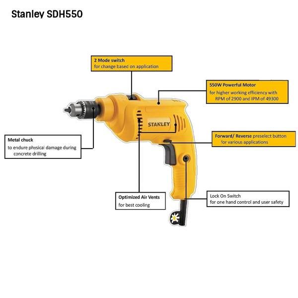 Stanley SDH550 - 550 W, 10 mm Hammer Drill