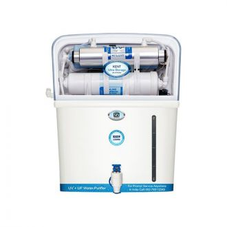 Double Purification first by UV followed by hollow fibre UF membrane. Storage tank of 7 litres that ensure continuous supply of water. Water Purifier has an activated Carbon Pre Filter in the purifier that reduces bad taste and odour. Kent Ultra Storage comes with computer controlled Operations like the UV Fail Alarm that alerts you when the UV lamp becomes inefficient