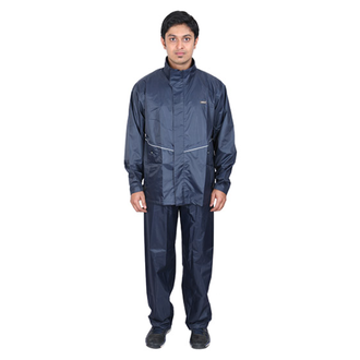Versalis - Shirt Pant with Hood Skyrider Men's Rain Coat is an excellent choice to do heavy activities like hiking, biking or doing some important task during rains. The black colour, two-piece Men's raincoat is made with breathable superior Nylon Fabric with PVC coating of .18 to .20 mm thickness on the inner side, making it water and wind repellent. This MADE IN INDIA, water-resistant, full-body Men's Raincoat keeps you dry and warm while working outside. This elegant looking raincoat comes with a high-quality zipper at the centre with flap protection. In addition, a drawstring hood, superior velcro, and a unique inner tapping ensure that the water does not steep inside your body. The perfect stitching throughout the rainwear enhances durability and makes it long-lasting. Two side pockets of the suit are meant to keep valuables like mobile, keys, and money safe.