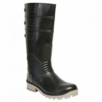 Hillson 212 Black and White Torpedo Steel Toe Gumboots are very effective safety boots with a ride range of application across many industries. These Hillson steel toe gumboots boast of dual-density for functional purposes. The upper portion of the safety shoes is made of soft and flexible PVC, ensuring adequate comfort to the wearer. This enables them to wear these Hillson steel toe gumboots for long hours without fatigue and discomfort. The inner lining of 100% cotton adds to the overall comfort and aesthetics of the Hillson 212 boots and also to the airflow. The sole is made of hard PVC and boasts of resistance to abrasion and penetration and makes the safety shoe anti-skid and anti-static.