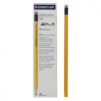 Staedtler 134 HB/2B - Yellow Pencil with New Thick Lead and Eraser Tip