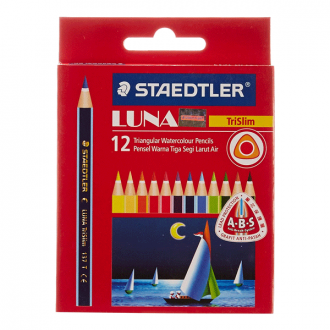 Staedtler 137 01TC 12ABS - Set of 12 Colours Luna Half Size Triangular Water Colour Pencil