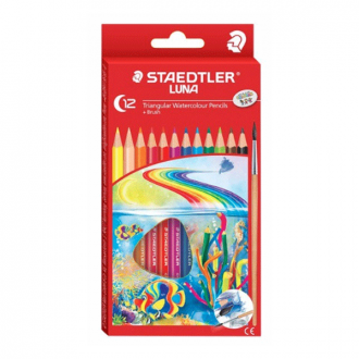 Staedtler 138 10 C12 - Set of 12 Colours Luna School Triangular Watercolour Pencil