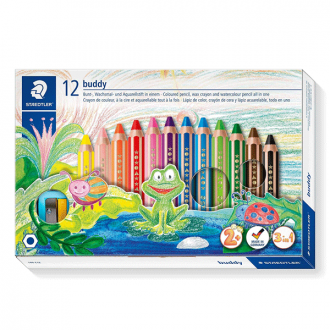 Staedtler 141 C12 - Set of 12 Colours Buddy Thick Colour Lead Jumbo Pencil