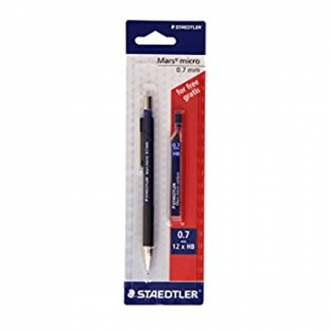 Staedtler 775 7ABK25D - 0.7 mm Mars Micro Mechanical Pencil with 1 Pack Lead