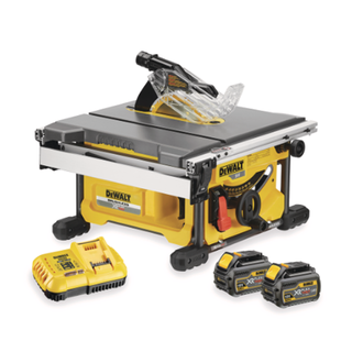 Dewalt DCS7485T2 GB - 54 V, XR Table Saw Kitted is 22 kgs in weight, and thus it is easy for the user to carry it around the job site. It has a steel roll cage that protects the device against the fall or impacts. XR Table Saw has racks and pinion fence system, front and rear fence lock and clear scales combination to improve the accuracy and comfort. It works on powerful 54 v motor for high performance in all types of applications. DeWalt XR Table Saw Kitted comes with mitre fence, two-blade spanners, dust port reducer, battery charger and carry bag. Dewalt DCS7485T2 GB is commonly used for fitting solid wood flooring, general sizing of panels, concrete formwork, sizing timber of joinery and fitting out decks.