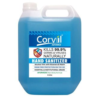 Looking for non-alcohol based, natural sanitizer? Corvil SN05, an Ayurvedic Neem hand sanitizer made with Aloe Vera and Neem, keeps your hand clean and soft. This non-sticky liquid contains 70 percent alcohol and is antibacterial, fungicidal, and antimicrobial in properties. It kills 99.9 % of germs and protects hands from transmitting infection after touching bus handles, toilet doors, currency notes and other surfaces.
