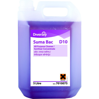 Diversey SUMA BAC D10 - 5L Sanitiser Concentrate - It is used for cleaning and sanitising equipment, work surfaces, floors, walls in hypersensitive areas and kitchens. It is entirely biodegradable and non-perfumed. It leaves no smell on cleansed items. It works as an effective barries for cross-contamination of all work areas. The solution provides the highest quality cleanliness by killing the germs and bacterias both in soft and hard water conditions.