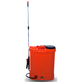 Suitable to spray insecticides, pesticides, fungicides, liquid fertilizers, and herbicides e-AgroCare - 16 litres, 8 A, Knapsack Battery Sprayer is conventional and most popular battery operated garden sprayer. It helps to protect the crop from pest attack. The red colour, 16-litre sprayer, is made of a tough, translucent plastic body with a large wide mouth opening that allows easy filling and less spilling. It weighs 2.5 kg. It can be used in multiple applications, like agriculture, horticulture, sericulture, forestry, and gardens.