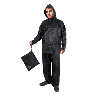 When the sky turns black and grey, then Duckback 667 - Raincoat lets you go out without compromising on time. Don't wait for the weather to be ideal; this raincoat is here to keep you dry even in the heavy rains. This durable, lightweight, MADE IN INDIA raincoat comes with a jacket, pant and a hood attached. It is made with high-quality polyester material with PVC coating from the inner side. Fabric is treated with a DWR finish to repel moisture and light stains and gives total water protection to the user. The perfect stitching throughout the rainwear enhances durability and makes it long-lasting. Two side pockets of the suit are meant to keep valuables like mobile, keys and money safe. This Black colour solid rain jacket, drawstring closure, long sleeves, zip closure, adjustable wrist and ankle with velcro two insert zip pockets, elasticated hem. It weighs 990 grams.