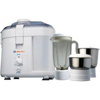 Bajaj JX 10 JMG - 450 W, 3 Jars Juicer Mixer Grinder – It is a user-friendly appliance suitable for multiple uses. The device is used for blending, grinding and juicing. Bajaj JX grinder comes with a stainless steel blade for precision and uniform food processing. The juicer grinder comes with a sleek design with an ABS plastic body that makes it lightweight and durable. It comes with 1.5 L unbreakable polycarbonate liquidising jar and 1 L stainless steel grinding jar.