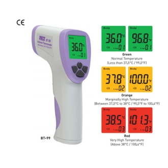 The Meco – 5 to 8 cm Infrared Thermometer is a portable, handheld, non-contact Thermometer suitable for medical purposes. The 5 to 8 cm Infrared Thermometer produces results almost instantaneously within 0.5 seconds. Also, since it can measure body temperatures without actual contact, it reduces the risk of cross infections. Individuals find the Thermometer advantageous and convenient because it can store up to 34 measurements, allowing easy monitoring of changes in body temperature. Additionally, the Meco Thermometer is provided with a backlight feature which indicates a colour according to the temperature. For example, temperature below 99.5 degrees Fahrenheit is marked by green, temperature over 99.5 degrees up to 100.4 degrees Fahrenheit is marked by orange, and red temperatures are indicated above. In addition to its efficiency and convenience, the Infrared Thermometer is provided with an auto power-off feature to make it energy-efficient.