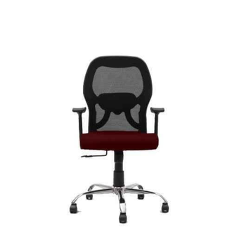 Advanto medium mesh chair consisting of mesh back in pp frame, cushioned maroon seat, pp arms, center-tilt mechanism, gas-lift mechanism, chrome plated metal base and nylon wheels.