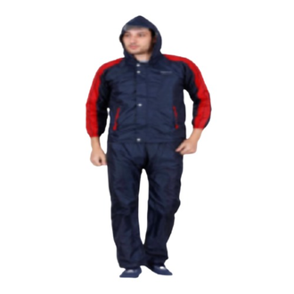 Shirt pant with hood. Polyester make with pvc coating on the inner side. Zipper at the centre. zips used. Superior Virgin Coating. Special inner tapping along with stitches for total water protection